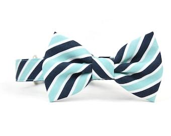 Blue Striped Dog Bow Tie Collar Nautical Aqua Navy Dog Bowtie Summer Wedding Dog Collar Bow Tie - Sayles