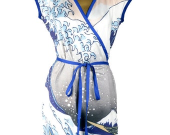 The Great Wave Wrap Dress - Cap Sleeve Above the Knee Japanese Fine Art Print Design