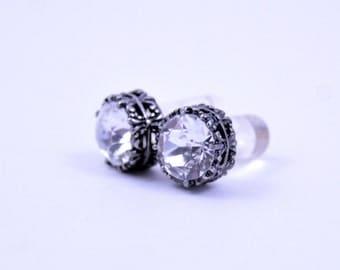 0g 2g 4g 6g 8g 10g 12g Silver filigree Clear Crystal Plugs Made With Swarovski Elements Wedding Bridal Plugs Gauges Tunnels Bridesmaid