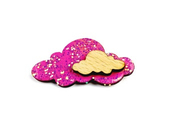 Pink Cloud Brooch // Sweet Lolita, Holiday Accessories, Cloud Pin, Cloud Jewelry, Birthday Gift, Trendy // Choose Your Own Colour!