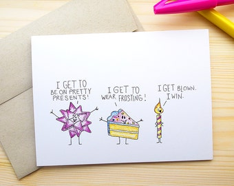 Funny Birthday Card for Him, Dirty Birthday Card, Birthday Card Funny, Happy Birthday Card for Her, Birthday Greeting Card, Bday Card
