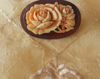 Art Deco Flower Brooch Celluloid Brooch Vintage 1930s 1940s