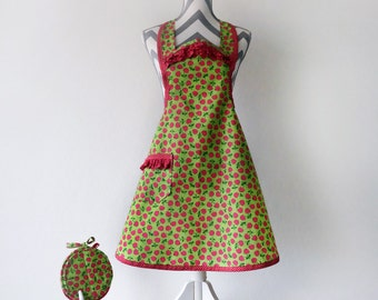 Women's Apron & (2) Pot Holder Set, Lime Green and Red Cherry