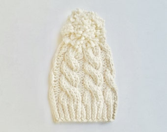 SALE Chunky Cable Knit Hat/ Vanilla Cream