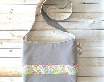 Grey and Paisley Crossbody Bag, Crossbody Purse, Boho Crossbody Bag, Canvas Bag, Sling Bag