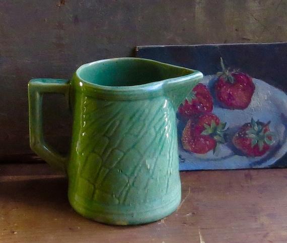 Vintage Green Pottery Pitcher Water Juice Milk Serving Jug