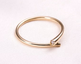 Unique Minimal twist gold ring, 14k solid gold ring, 14 k rose gold ring, statement ring, anniversary gift for her, free shipping