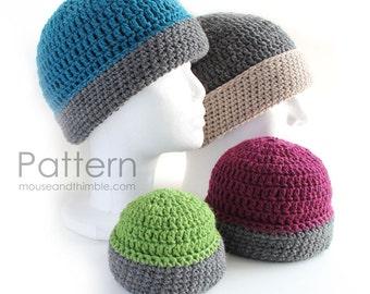 Reversible Binary Beanie Hat - Easy Crochet PATTERN (in 8 sizes) - PDF 9273