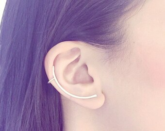 Ear Cuff Sterling Silver Stud Ear Wrap Curve Bar Line Texture Matte Minimal Simple Metal Long Curved