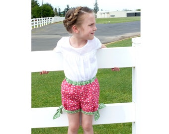 FUNNY Girl Shorts pattern Pdf sewing pattern, plus Shirt Applique, Toddler shorts, Girls size 3 4 5 6 7 8 9 10 years