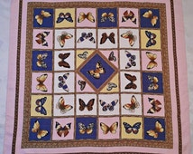 """Vintage Authentic Tiffany Jewelry Butterflies Plaid Pink Blue Silk 34"""" Square Scarf"""