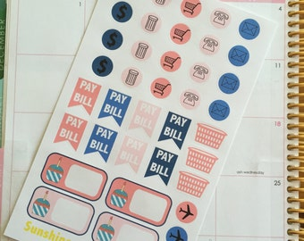 Navy and Coral Erin Condren Life Planner Stickers- Functional daily stickers!