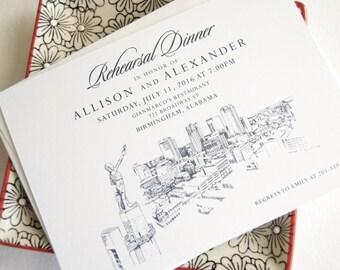 Birmingham Skyline Rehearsal Dinner Invitations (set of 25 cards)