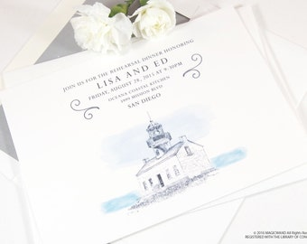 Cabrillo National Monument Skyline Rehearsal Dinner Invitations (set of 25 cards)