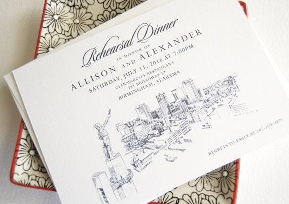 Wedding Invites Birmingham: Birmingham Skyline Rehearsal Dinner Invitations Set Of 25