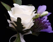 Beautiful Mother of the Bride/Wedding Guest Buttonhole/Corsage with Ivory Rose, Purple Freesia & Trachelium with Ivory Satin Ribbon