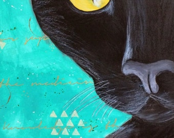 SALE! Black Cat Lucky Cat Original Mixed Media Painting