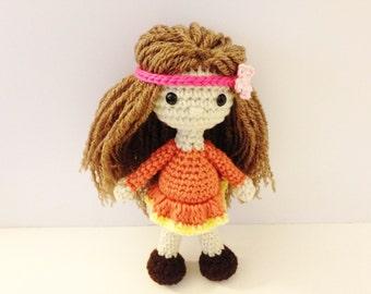 Crochet Doll / Amigurumi Stuffed Girl Doll Toy / Amber