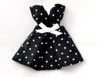 PIN origami dress black with white polka dots