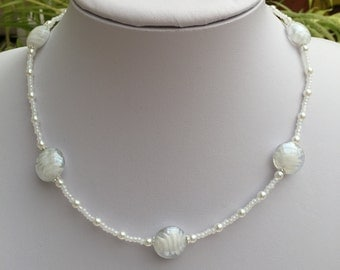 Hand Crafted White, Silver and Pearl Beaded Necklace.