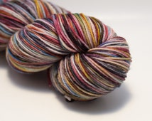 Serendipity's Dark Side on Classic Sock - Gray, Red, Blue, Green, Yellow, Orange, Purple Variegated Fingering Yarn