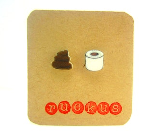 Poop and Toilet Paper Stud Earrings, Toilet Tissue, Jewelry, Gag Gift, Funny Jewelry, Funny Earrings, Fun Earrings, Fun Jewelry