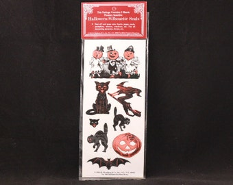 Vintage Shackman Halloween Silhouette Seals. 3 Sheets Diecut and Pressure-Sensitive Stickers. Sealed