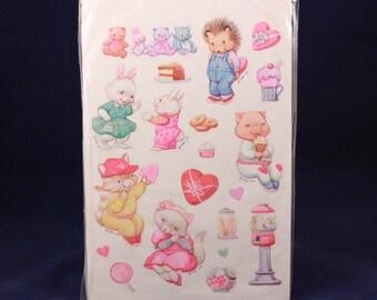 Vintage Hallmark Valentine Animal Stickers. 3 Unsealed Sheets per Order