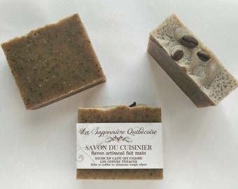 Savon du cuisinier, Savon artisanal fait main 100% naturel, Coffee Soap, Cold process All Natural Handmade Soap