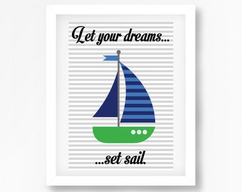 Nautical Nursery Wall Art, Nautical Nursery Decor, Baby Boy Nursery Print, Sailboat Print for Nursery, New Baby Boy Gift, Seaside Nursery