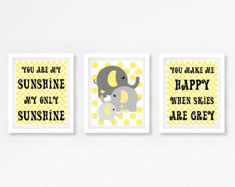 Gender Neutral Nursery Decor, Yellow and Grey Nursery, You Are My Sunshine Wall Art, Neutral Baby Shower Gift, Elephant Nursery Prints