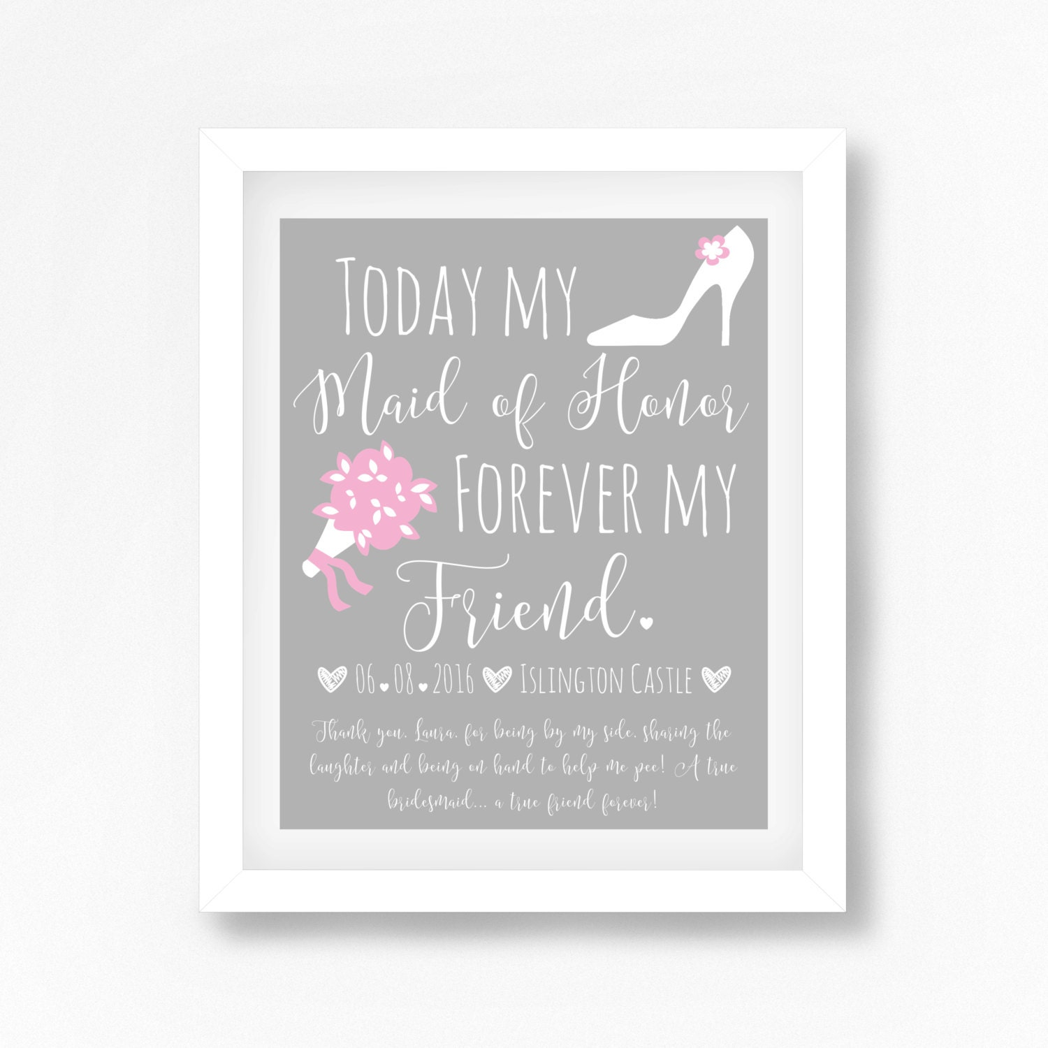 Maid of Honor Gift Wedding Day Bridesmaid Gift Personalised