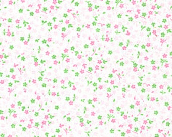 Pink and Green Tiny Floral Fabric