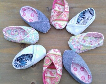 Baby Girls' Tom's Inspired Shoes, Blue Polka Dot Baby Shoes
