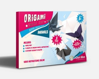 Origami World Map Craft Kit - animals, map, paper, origami, gift, kids, craft kit, children, gift for him, gift for her, free shipping