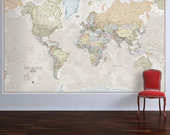 Giant classic world map mural home decor push pin map huge classic world map push pin map map home decor living room gumiabroncs Image collections