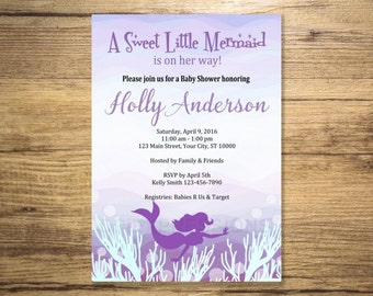 Purple Mermaid Baby Shower Invitation, Printable Mermaid Under The Sea Baby Shower Invitations, Purple, Pink and Turquoise Invitation