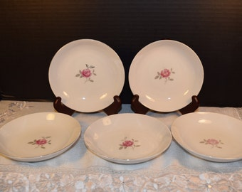 Gildhar Petite Rose Bowls Set of 5 Vintage Fine Porcelain China Petite Rose Pattern Made in Japan Mothers Day Gift for Her Wedding Gift