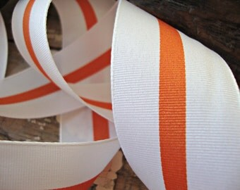 White Grosgrain Ribbon with Orange Center Stripe