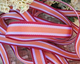 2 Yards - Burgundy and Orange Striped Grosgrain Ribbon