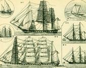 1897 Rigging Old Sailing Ship Antique Large Size illustration, original Larousse print, french antique, framing 115 YEARS OLD