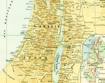 1897 Antique Map of Palestine Jerusalem Israel Holy Land Larousse Print Large Size 115 YEARS OLD History Decor  Wall Art