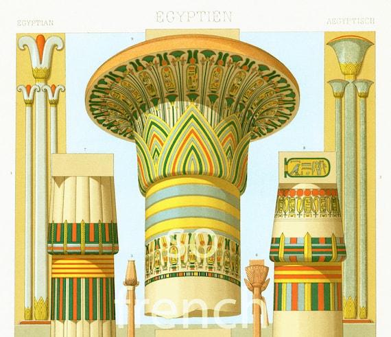 1885 architecture egyptienne colonnes gd format par for Architecture egyptienne