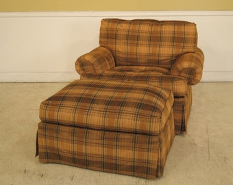 40473E:  EJ VICTOR Plaid Upholstered Chair & Matching Ottoman