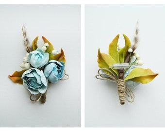 Rustic Boutonniere  Woodland Boutonniere Mens wedding boutonnieres Dusty blue wedding Rustic flower Brooch Dusty blue flower