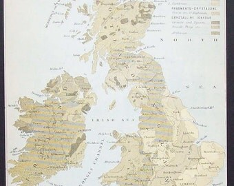 Antique Geological Map of the British Isles