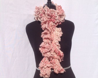 Curly Boa Scarf in Bubblegum Pink with White