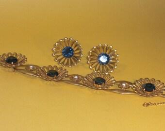 (130) bracelet and earrings flowers, STERLING SILVER, VERMEIL, to 1940's