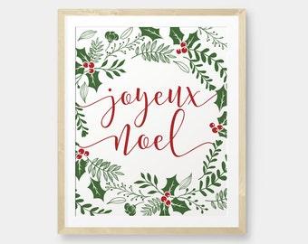 Joyeux Noel Christmas printable decor,Holiday Typography Decor, Modern Holiday Decor - Instant Download