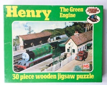 Henry the Green Engine Puzzle, 30 Piece Wooden Train Jigsaw, Complete, Thomas the Tank Engine and Friends, Michael Stanfield, 1984, 011071,
